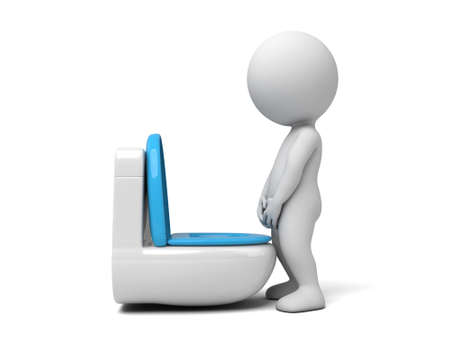 pee pee: 3d people pee on a toilet. 3d image. Isolated white background Stock Photo