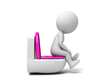 A 3d people sitting on a toilet. 3d image. Isolated white background photo