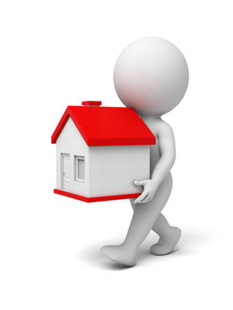 character abstract: A 3d people with a new house. 3d image. Isolated white background Stock Photo