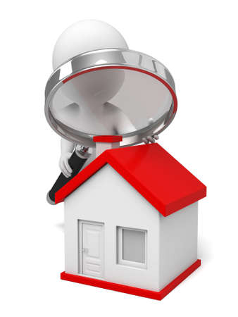 3d people with a magnifying glass and a house. Search new house Stock Photo