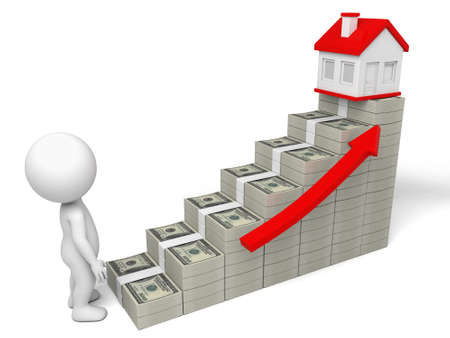 disappointed: A disappointed people, housing price rise. 3d image. Isolated white background Stock Photo