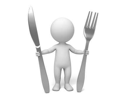 Chef 3D avec une cuillère et fourche sur fond blanc