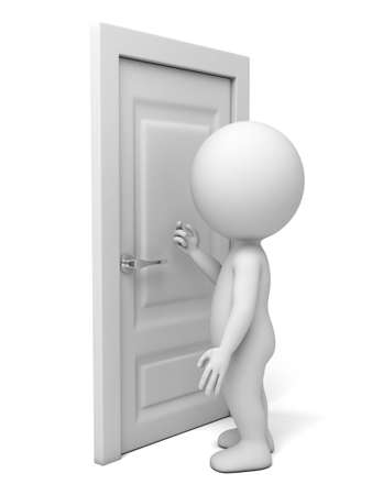 closed door: 3d people knock at the door. 3d image. Isolated white background