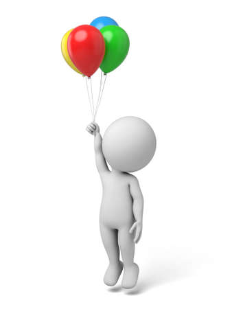 lucky man: 3d people flying with some balloon. Stock Photo