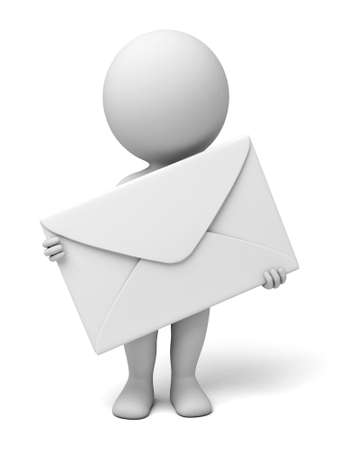 A 3d people with a mail.  Isolated white background Stok Fotoğraf