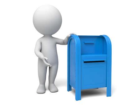 buzon: A la gente 3d con un buzón de correo. Fondo blanco aislado Foto de archivo