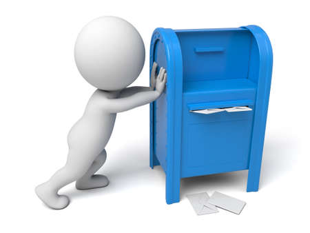 A 3d people with a mailbox.  Isolated white background