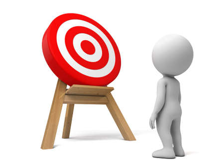 targeted: 3d people with a target.  Isolated white background