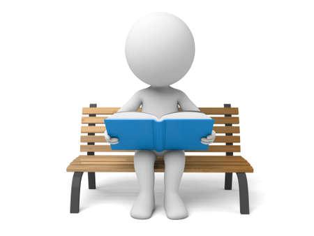 personas leyendo: Un pueblo 3d leyendo un libro. Fondo blanco aislado