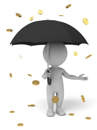 money rain: 3d people with an umbrella, money rain. Isolated white background