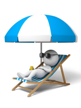 3d people lying on a beach.  Isolated white background.