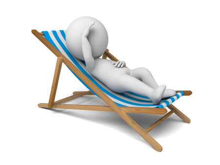 holidays vacancy: 3d people lying on a beach. 3d image. Isolated white background.