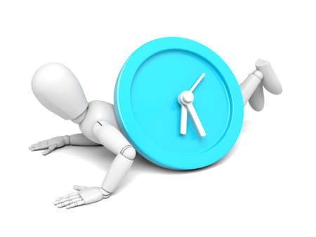 elapsed: A 3d people with a big clock.  Isolated white background