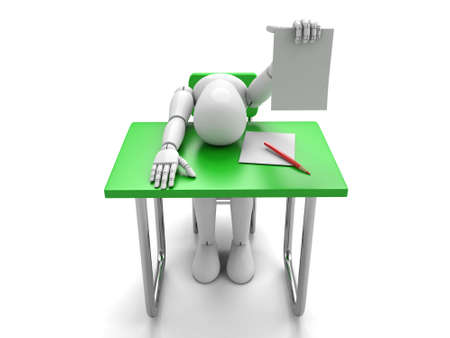 exam: 3d people have an exam test.  Isolated white background Stock Photo