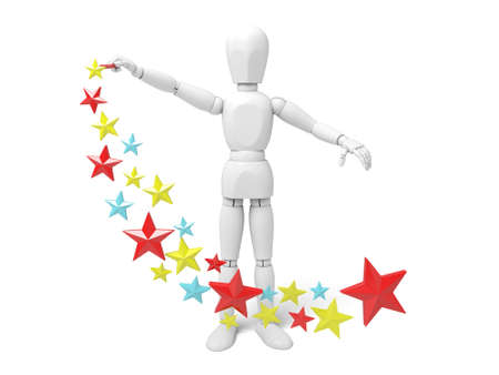 juggle: 3d people with colorful stars. 3d image. Isolated white background Stock Photo