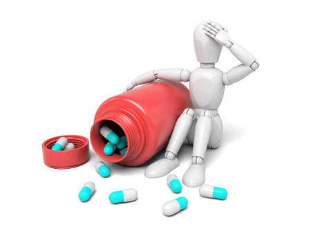 remedies: 3d people with some pills.  Isolated white background Stock Photo