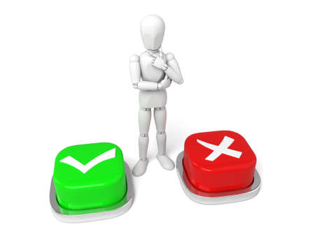 3d people with check mark buttons. 3d image. Isolated white background Stock Photo