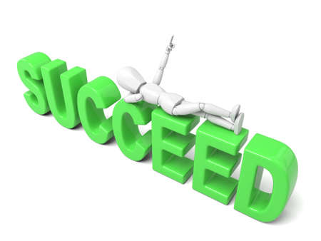 succeed: 3d people lying on the text succeed. Isolated white background Stock Photo