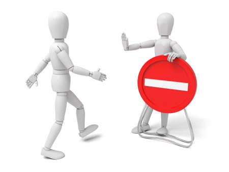 restricted access: 3d human with red stop sign on white background