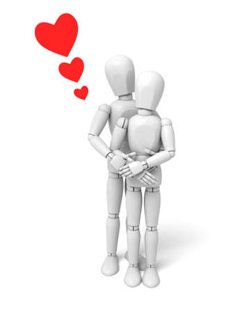 3d people kiss. 3d image. Isolated white background Banco de Imagens