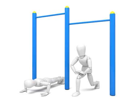 Athlete on horizontal bar Isolated on White Background Imagens