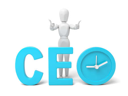 3d people with a word of CEO.  Isolated white background