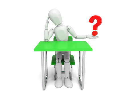 3d people with a question mark.  Isolated white background Stock Photo