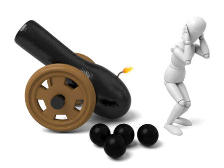 gunner: 3d people with a cannon. 3d image. Isolated white background