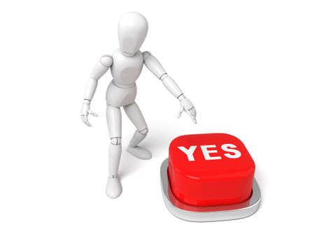 yes button: 3d people with a yes button.  Isolated white background