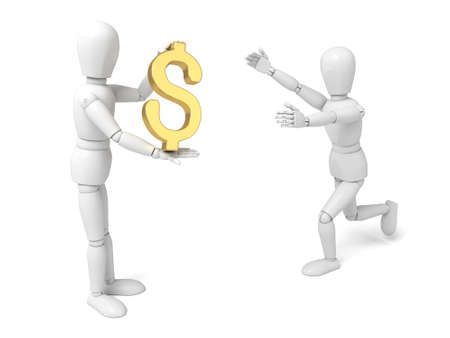 solvency: A small person with a dollar currency symbol. Stock Photo