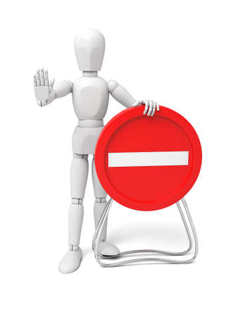 access restricted: 3d human with red stop sign on white background