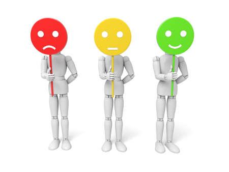 3d people avec trois humeurs affichés. Fond blanc isolé Banque d'images - 39698956