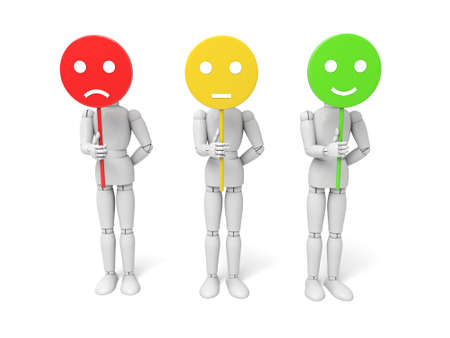 3d people with three moods displayed.  Isolated white background Stock Photo