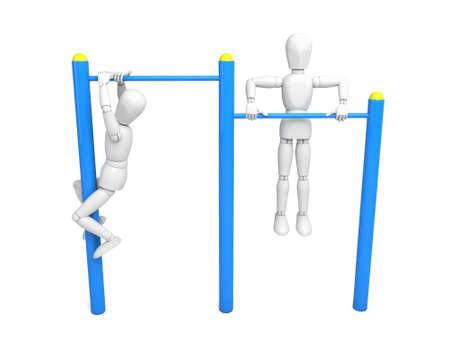 competitor: Athlete on horizontal bar Isolated on White Background Stock Photo