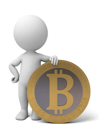 crypto: 3d people with a bit-coin. 3d image. Isolated white background.
