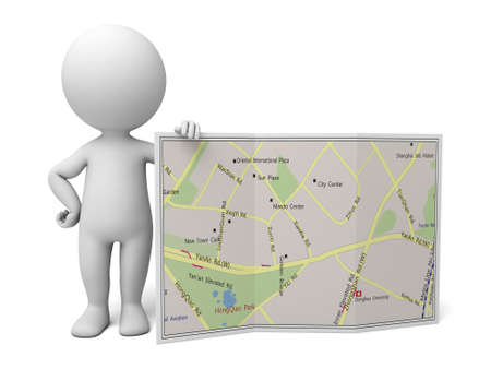 3d people with a map. 3d image. Isolated white background.