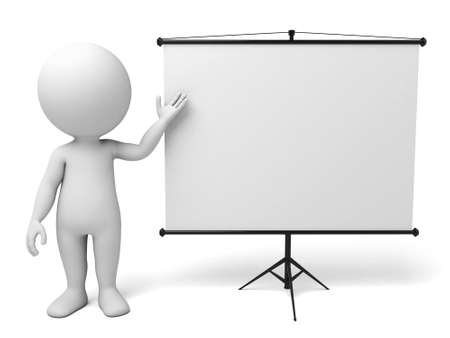 introducing: a 3d man introducing something, standing by a flip-chart Stock Photo