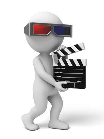 film shooting: 3d people with a movie clapper. 3d image. Isolated white background