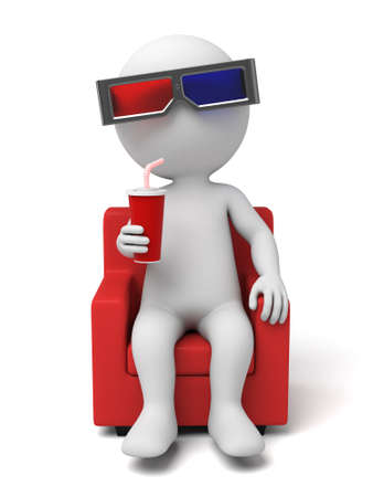 people watching: 3d people watching movie with 3d glasses. 3d image. Isolated white background Stock Photo