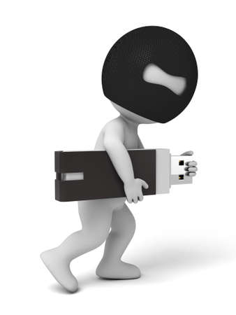 private information: 3d thief stealing u-disk. 3d image. Isolated white background. Stock Photo