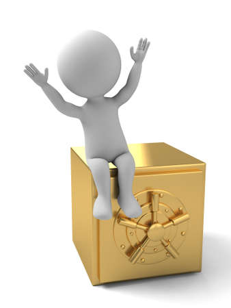 valuables: 3d people with a big safe. 3d image. Isolated white background