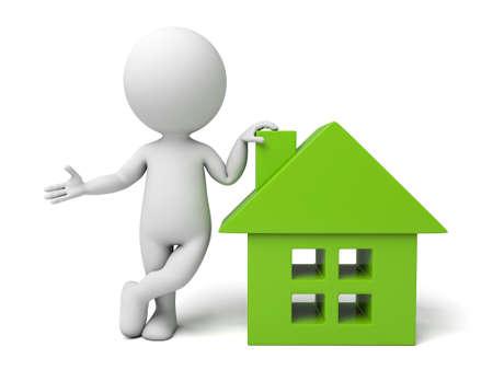 3d mensen met een huis. 3d beeld. Geïsoleerde witte achtergrond Stockfoto