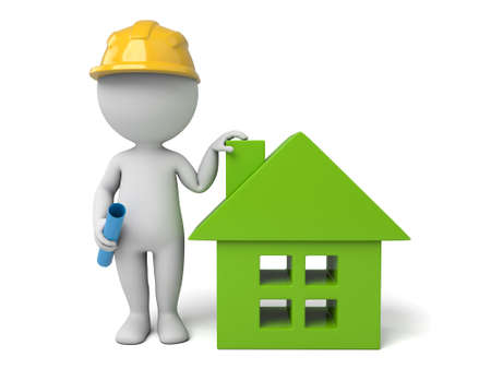 housing project: 3d people with a house. 3d image. Isolated white background Stock Photo