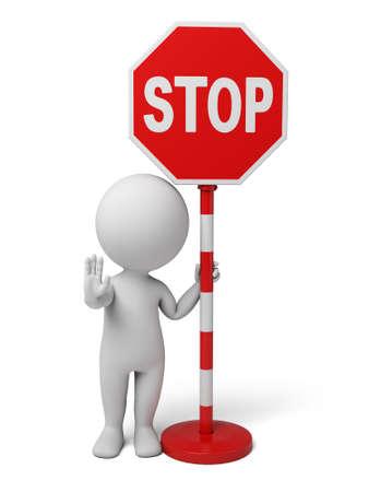 A la gente 3d con una señal de stop. Aislado en un fondo blanco Foto de archivo - 42645760