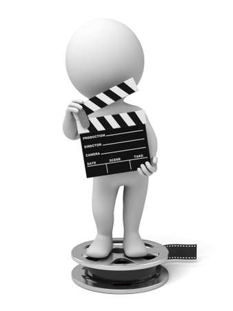3d people with a movie clapper. 3d image. Isolated white background