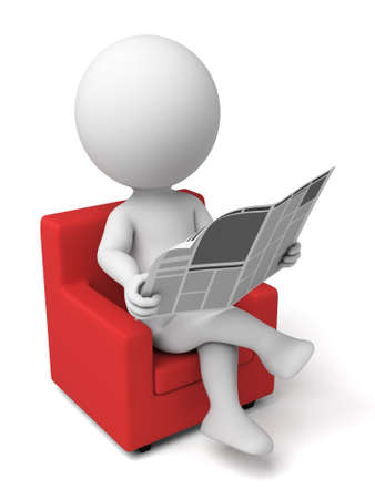 gazette: 3d people reading a news paper. 3d image. Isolated white background