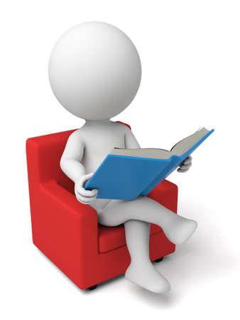 personen: 3d persoon die het lezen van een boek. 3D-beeld. Geïsoleerde witte achtergrond.