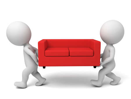furniture: 3d people carrying a sofa. 3d image. Isolated white background.
