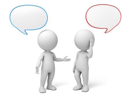 3D-Menschen sprechen mit Sprechblasen. 3D-Bild. Isolierte weißem Hintergrund. Standard-Bild - 42646074