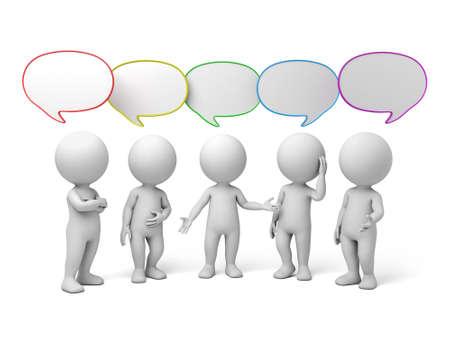 interaccion social: 3d personas que hablan con las burbujas del discurso. Imagen en 3D. Fondo blanco aislado.